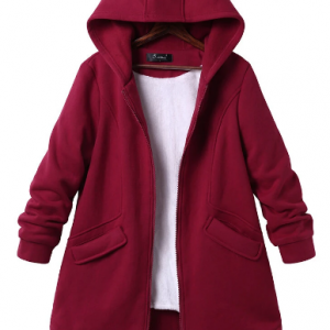 Casual Pure Color Hooded Pockets Coats for Women discountshub