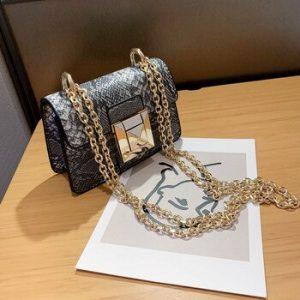 Crocodile pattern Mini Square Crossbody bag 2020 New High-quality Leather Women's Designer Handbag Chain Shoulder Messenger Bag discountshub