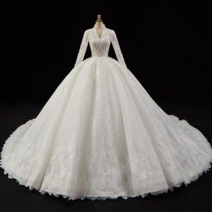 Crystal Pearls Appliques Lace Gorgeous Ball Gown Wedding Dresses Aliexpress Login V-neck Long Sleeve Luxury Bridal Dress China discountshub