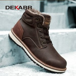 DEKABR 2020 New Snow Boots Protective and Wear-resistant Sole Man Boots Warm and Comfortable Winter Walking Boots Big Size 39-46 discountshub