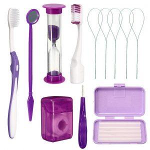 Dental Teeth Oral Cleaning Care Orthodontic Kits Brush Floss Thread Wax 8pcs/kit#Purple discountshub