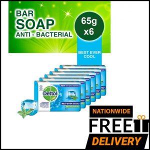 Dettol Best Ever Cool Anti-Bacterial Soap - 65g (Pack Of 6) discountshub