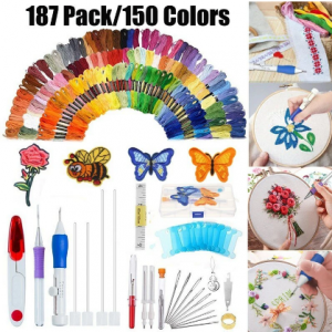 187 pcs/set Embroidery Kit Punch Needle Embroidery Patterns Punch Needle Kit Craft Tool Embroidery Pen Set Threads for Sewing Knitting DIY Threaders discountshub
