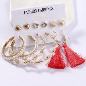 Exknl Women Earrings Set Acrylic Pearl Earrings For Women Bohemian Leopard Tassel Stud Earrings 2020 New Brincos Fashion Jewelry discountshub
