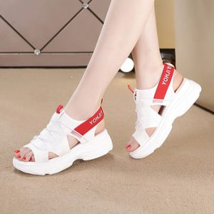 Fashionable open-toed sports sandals elastic with white chunky thick-soled platform shoes 2020 summer new women's shoes 35-40 discountshub