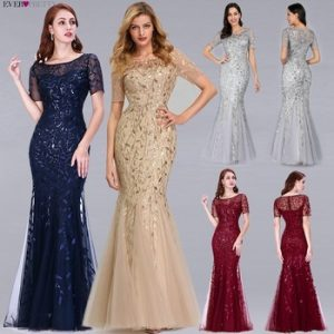 Formal Evening Dresses 2020 Ever Pretty New Mermaid O Neck Short Sleeve Lace Appliques Tulle Long Party Gowns Robe Soiree Sexy discountshub