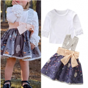 Girls 2Pcs Print Strap Dress Sets For 1-7Y discountshub