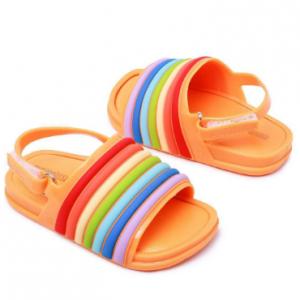 Girls Rainbow Strip Comfy Non Slip Beach Hook Loop Slingback Sandals discountshub