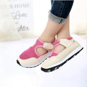 Girls Splicing Mesh Breathable Hook Loop Casual Sandals discountshub