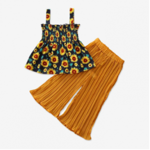 Girl's Sunflower Print Straps Tops+Pants Clothing Set For 2-8Y discountshub