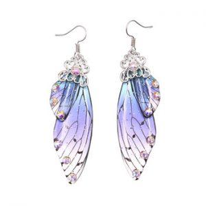 Handmade Fairy Simulation Wing Earrings Insect Butterfly Wing Drop Earrings Foil Rhinestone Earrings Romantic Bridal Jewelry discountshub