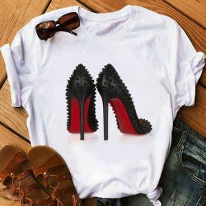 Newest watercolor high heels shoes print vogue t shirt femme funny t shirt women 90s hip hop punk shirt hipster streetwear discountshub
