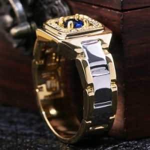 Huitan Party Men Rings Creative Watch Shaped Two Tone Design Rings For Men Wedding Ring With Size 6-14 Male Jewelry Wholesale discountshub