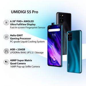 In Stock UMIDIGI S5 Pro Helio G90T Gaming Processor 6GB 256GB Smartphone FHD+ AMOLED In-screen Fingerprint Pop-up Selfie Camera discountshub