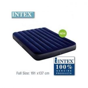 Intex Inflatable 2-3 Person Classic Downy Airbed With Pump - Blue. discountshub