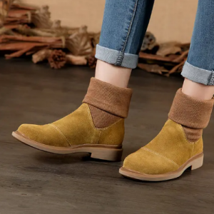 LOSTISY Color Blocking Splicing Ankle Genuine Leather Boots For Women discountshub