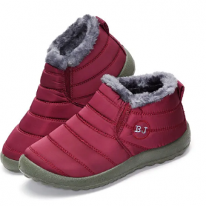 LOSTISY Letter Warm Fur Lining Flat Black Sole Boots For Women discountshub