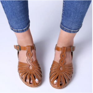 LOSTISY Women Rome Soft Breathable Hollow Closed Toe Buckle Sandals discountshub