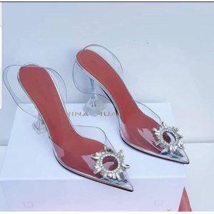 Ladies Beautiful Heel Shoe - Silver discountshub