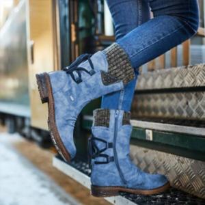 Large Size Women Winter Snow Strappy Block Heel Mid Calf Boots discountshub