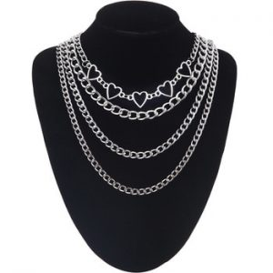 Layered heart chain necklace 2020 girls aesthetic cute necklace set claviclel chains women female fashion choker neck jewelry discountshub