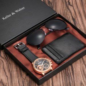 Luxury Rose Gold Men's Watch Leather Card Credit Holder Wallet Fashion Sunglasses Sets for Men Unique Gift for Boyfriend Husband discountshub