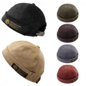 Men Women Couples Adjustable Solid Corduroy Velvet Brimless Hats Retro Crimping Bucket Cap discountshub