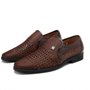 Men Woven Style Leather Hollow Out Breathable Casual Shoes discountshub