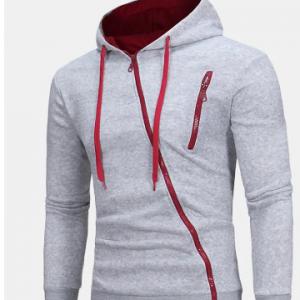 Mens Breathable Tilted Zipper Decoration Tops Long Sleeve Cotton Hoodie Jacket discountshub