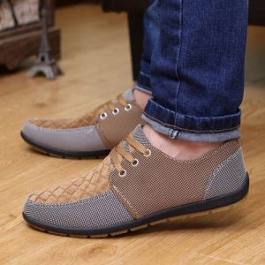 Men's Canvas Lace-Up Driving Loafer Non-Slip Casual Shoes discountshub