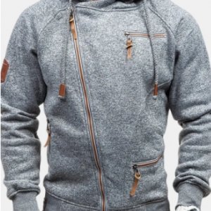 Mens Casual Zipper Up Design Sweatshirts Drawstring Hooded Cotton Hoodies for Men discountshub