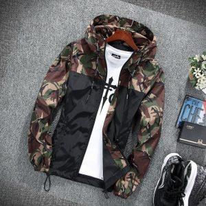 Men's Jacket T-shirt Men's Casual Outdoor Camouflage Jacket Slim Coat--Brown discountshub
