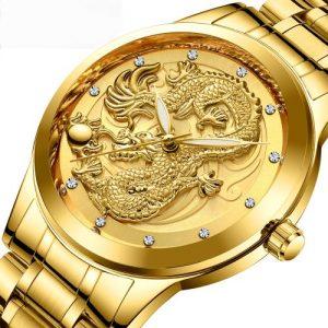 Men's Luxury Diamond Band Waterproof Quartz Watch -Golden discountshub