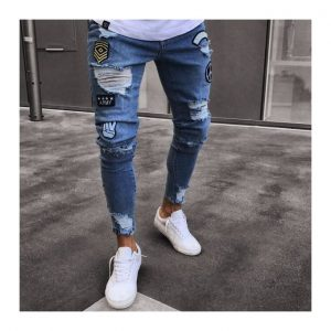 Men's Ripped Holes Jeans Embroidery Denim Pants-Blue discountshub