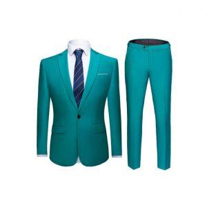 Men's Slim Fit Suit - Teal Green discountshub