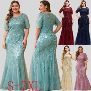 Mermaid Evening Dresses Plus Size Ever Pretty Sequined Short Sleeve O-Neck Sexy Formal Dresses Evening Party Gowns Lange Jurken discountshub