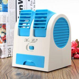Mini Air Conditioner USB Fan Cooling Portable Desktop PC Dual Bladeless discountshub
