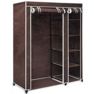 Mobile Wardrope Closet With Free Cloth Hanger- Brown discountshub
