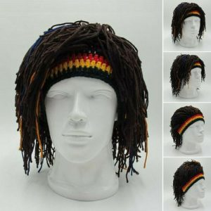 New Arrival Rasta Wig Cap Beanie Hat Jamaica Rasta Handmade Cap Reggae Dreadlocks Africa Roots Wig Bob Marley(1) LJ discountshub