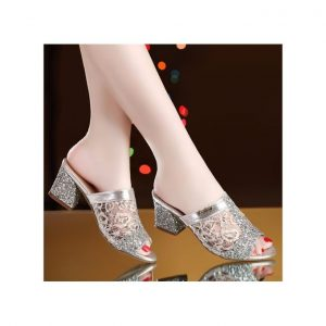 New Fish Mouth With Mesh Sequined Sandals Silver discountshub