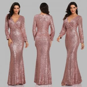 New Sexy V Neck Mermaid Evening Dress Long Formal Prom Party Gown Full Sequins long Sleeve Galadress vestidos occassion dress discountshub