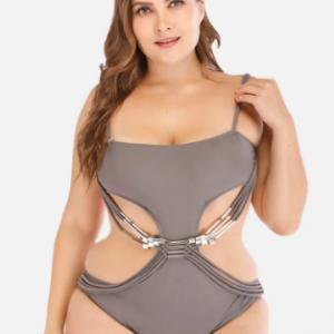Plus Size Women Swimsuits One Piece Cut Out Backless Swimwear discountshub