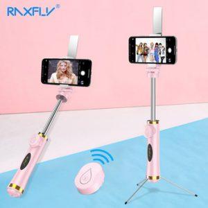 RAXFLY Mini Bluetooth Selfie Stick Foldable Tripod Mirror Remote Selfie Stick For IOS iPhone X 8 7 Plus Xiaomi Samsung Android discountshub