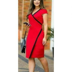 Red Overlapping Dress With Black Trimmings discountshub