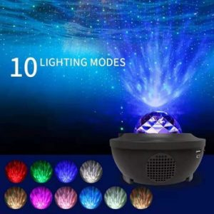 Romantic Colorful Starry Sky Ocean Projector Night Light Remote Control Ocean Wave Projection Lamp with Bluetooth Music Speaker discountshub