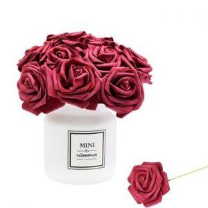 24Pcs/lot Artificial Rose Bouquet Decorative Foam Rose Flowers Bride Bouquets for Wedding Home Party Decoration Wedding Supplies discountshub