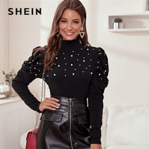 SHEIN Stand Collar Black Pearl Beading Elegant Blouse Women Autumn Leg-Of-Mutton Sleeve Buttoned Back Ladies Blouses And Tops discountshub