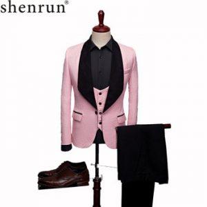 SHENRUN Mens Fashion Big Shawl Lapel 3 Pieces Set Pink Red Blue White Black Wedding Groom Suits Quality Jacquard Banquet Tuxedo discountshub