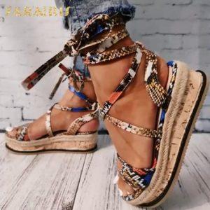 Sarairis Wedges heels Fashion 2020 Big Size 43 Wholesale Shoelaces Snake Printed Summer INS Hot Shoes Women Sandals discountshub