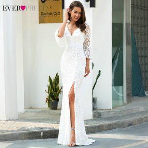 Sexy Lace Wedding Dresses Ever Pretty EP00617CR 3/4 Sleeve Side Split Deep V-Neck Zipper Mermaid Bride Gowns Robe De Mariee 2020 discountshub